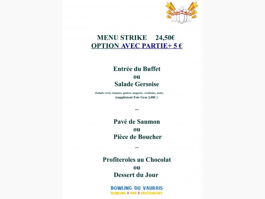 Nouvelle Carte Menus Strike & Spare