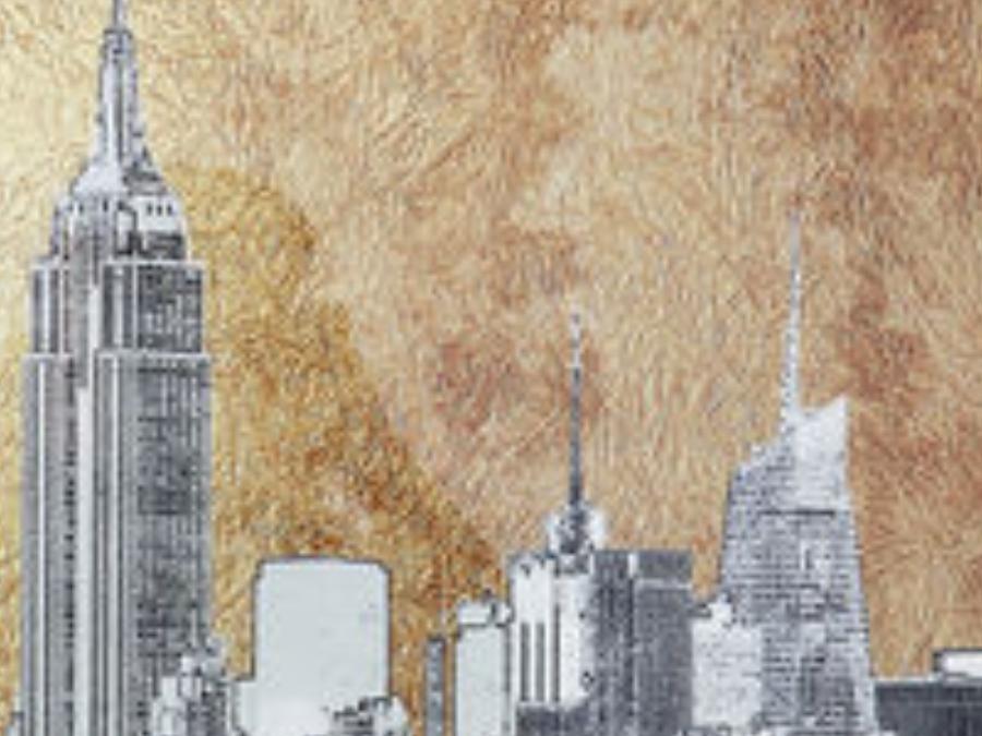 Tableau verre Metallic New York View