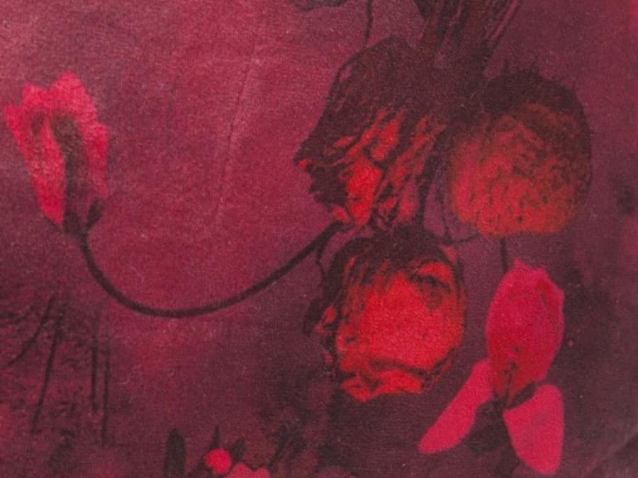 Coussin à franges fleurs rouges